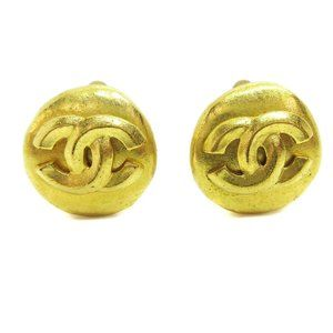 CHANEL CC Button Motif Earrings Gold-Tone Clip-On